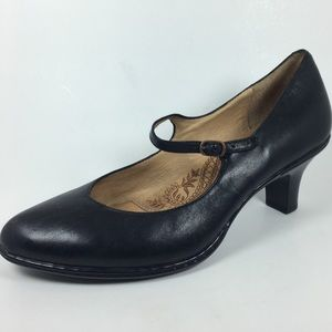 Sofft Leather Mary Jane Black Silhouette Pumps 7.5